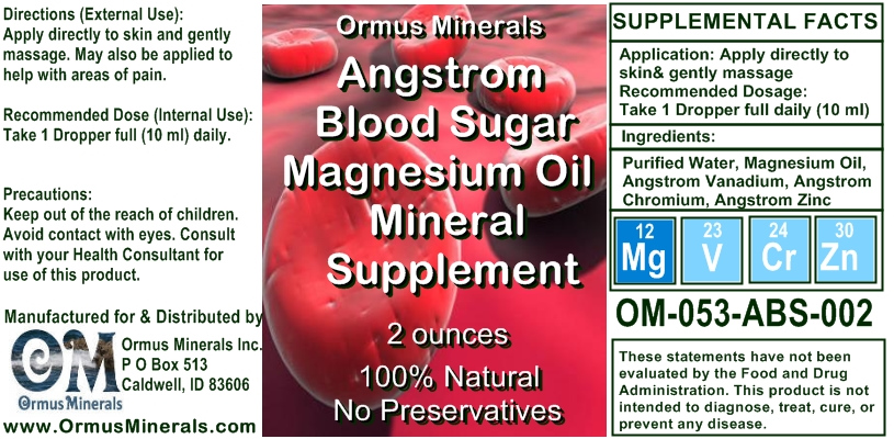 Ormus Minerals Angstrom Blood Sugar Support Mineal Supplement