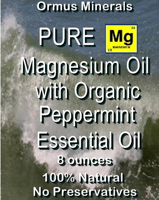 Ormus Minerals Magnesium Oil with Organic Peppermint Essential Oil