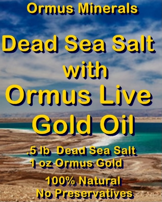 Ormus Minerals Dead Sea Salt and Ormus Live Gold Oil Bath and Skin Gift Set