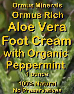 Ormus Minerals Ormus Rich Aloe Vera Foot Cream with Organic Peppermint