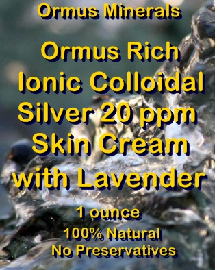 Ormus Minerals Ormus Rich Ionic Colloidal Silver 20 ppm Skin Cream with Lavender
