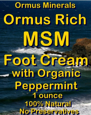 Ormus Minerals Ormus Rich MSM Foot Cream with Organic Peppermint