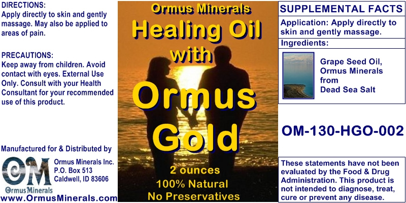 Ormus Minerals Healing Oil with Ormus Gold