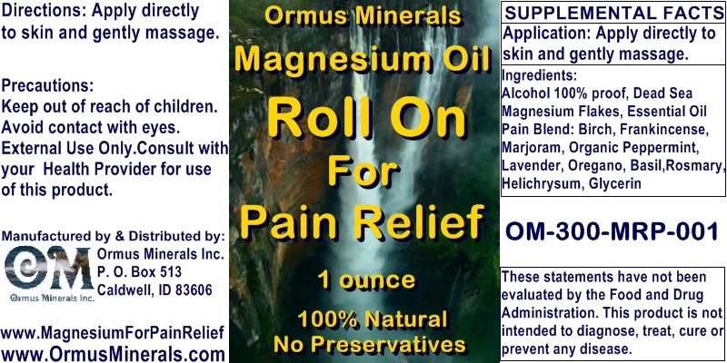 Ormus Minewrals - Magnesium Roll On for Pain Relief