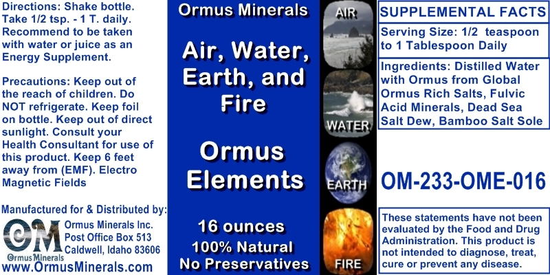 ormus Minerals Air,Water,Earth,Fire ORMUS ELEMENTS