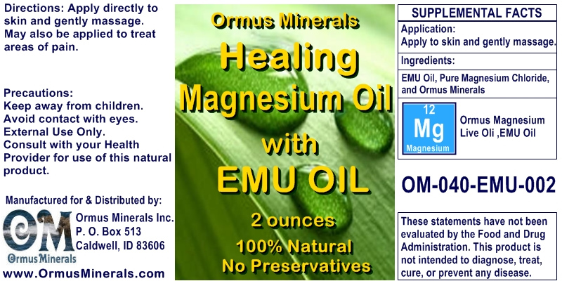 Ormus Minerals Healing Magnesium Oil with EMU Oil