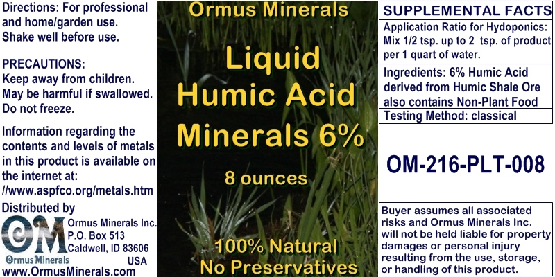 Ormus Minerals Humic Acid Minerals 6% for Plants