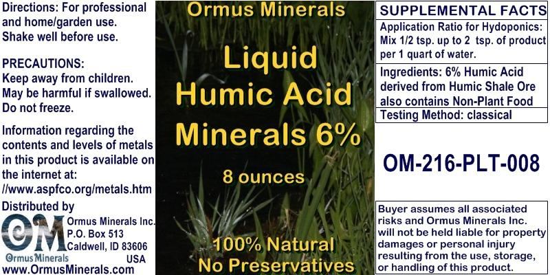 Ormus Minerals Humic Acid Minerals 6% for Plants
