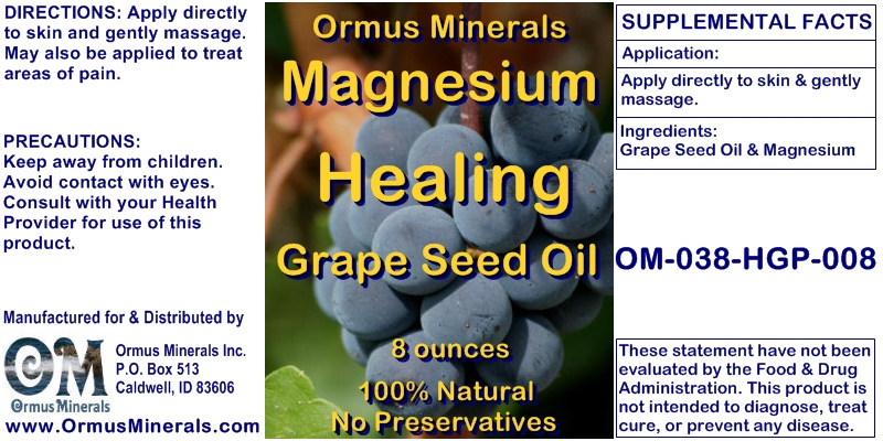 Ormus Minerals Magnesium Healing Grape Seed Oil