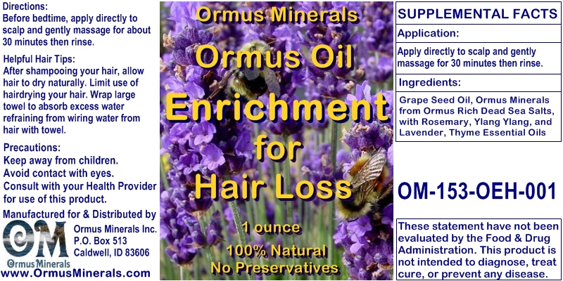Ormus Minerals Ormus Oil Enrichment for Hair Loss